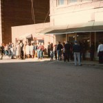 Residents line up for a chance to be an extra in the movie, September 28, 1985.