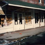 Crew members painted store windows in preparation for the caravan scene, filmed December 3, 1985. It had snowed overnight.