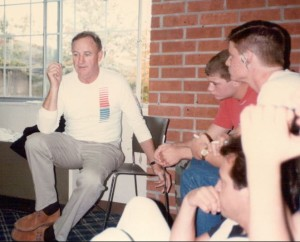 Gene Hackman gives the Huskers acting tips in the days before filming begins.
