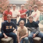 The Huskers before receiving haircuts. Front row: Steve Hollar (Rade), Wade Schenck (Ollie), Brad Boyle (Whit). Back row: Brad Long (Buddy), Maris Valainis (Jimmy), Scott Summers (Strap), David Neidorf (Everett), Kent Poole (Merle)