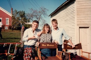 Kent Poole and Steve Hollar visit with Laura Robling before the filming of one of her scenes in Liberty Chapel, site of principal Cletus Summers' and Coach Dale's homes.