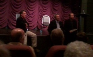 Pizzo and Anspaugh take questions at an informal gathering at the IU Cinema.
