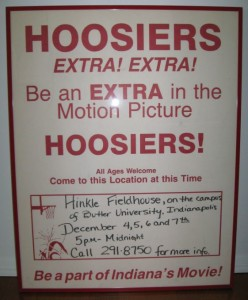 Posters were placed in the filming-location towns to encourage people to show up and be extras in the production.
