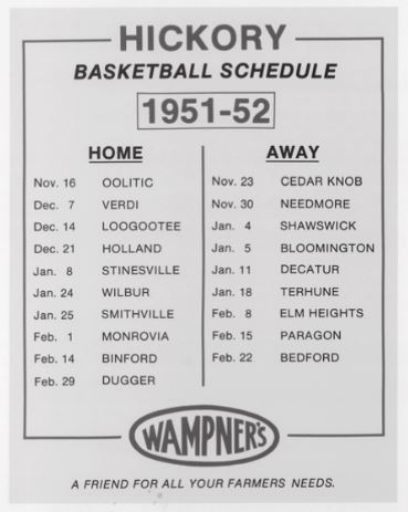 The Huskers' game schedule was printed and placed in Hickory store windows as a set decoration. Wampner's was the feed-and-grain store owned by troublesome townsman George, Buddy's father.